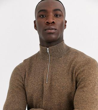 ASOS DESIGN Tall midweight half zip sweater in tan twist