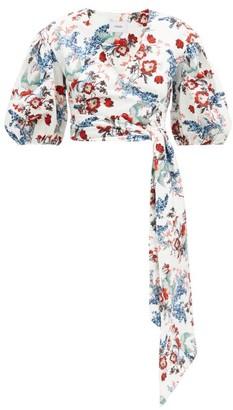 Erdem Cylenne Bird Blossom-print Cotton Wrap Blouse - White Print
