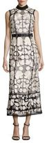 Marchesa Two-Tone Embroidered Lace Dress