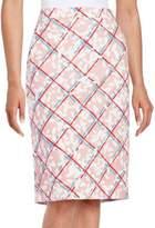 Jil Sander Navy Pleated Cotton Blend Skirt