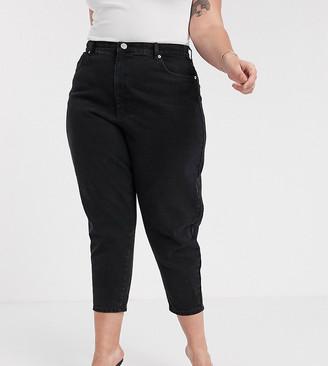 ASOS DESIGN Curve balloon boyfriend jeans in clean black