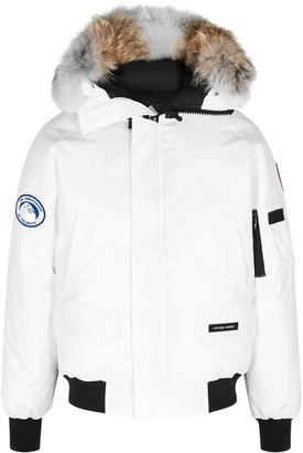 Canada Goose Chilliwack PBI White Fur-trimmed Shell Coat