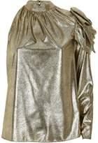 River Island Womens Gold metallic one shoulder top