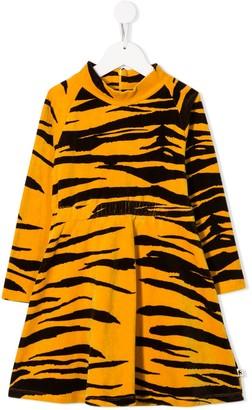 Mini Rodini Organic Cotton Tiger-Print Velour Dress