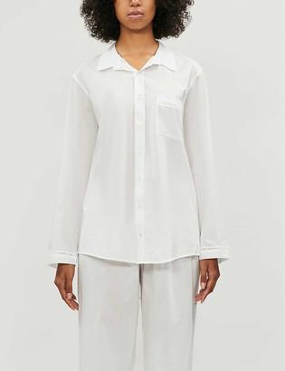 POUR LES FEMMES Lace-detail cotton pyjama shirt