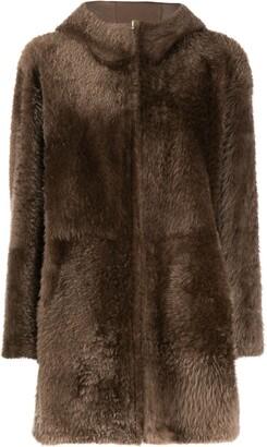Liska Hooded Shearling Coat