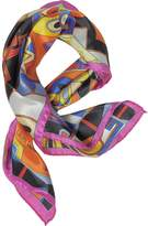 Laura Biagiotti Pink and Multicolor Floral & Geometric Print Satin Silk Bandana