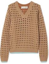 Victoria Beckham Open-knit Wool-blend Sweater - Beige