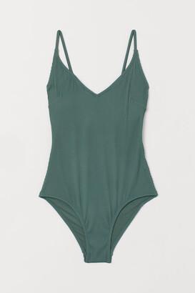 H&M V-neck Swimsuit - Green