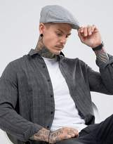 Asos Flat Cap In Grey Nepp Melton