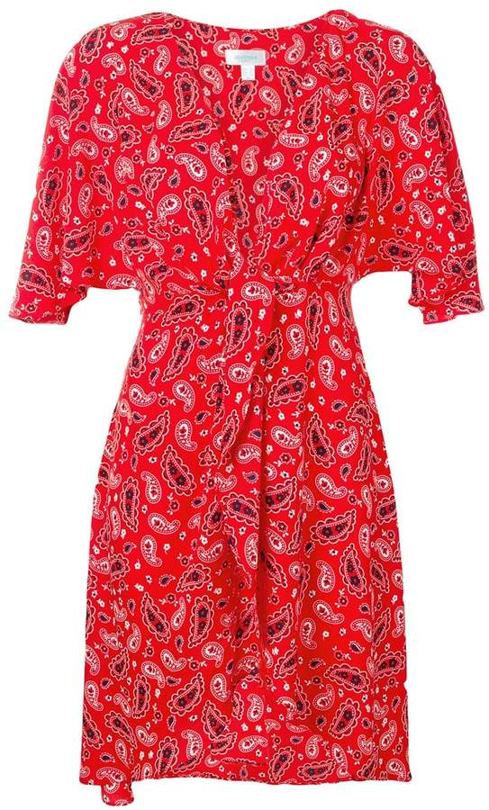 Jovonna London paisley print plunge wrap dress