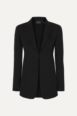 Akris Odette Leather-trimmed Wool-blend Crepe Blazer - Black