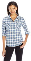 Volcom Juniors Cozy Day Cropped Flannel Plaid Shirt