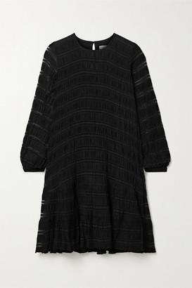 Anine Bing Viola Lattice-trimmed Plisse Stretch-knit Dress - Black
