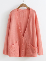 Shein Front Pocket Button Up Cardigan