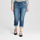 Earl Jean Women's Plus Size Floral Rhinestone Embellished Cropped Denim Pants Blue