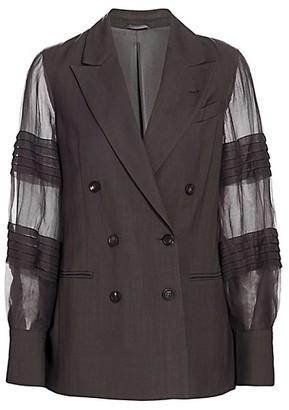 Brunello Cucinelli Sheer Organza Pleat-Sleeve Double Breasted Blazer