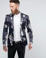 Asos Super Skinny Blazer With Dark Mosaic Floral Print