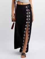 Charlotte Russe Embroidered Side Slit Maxi Skirt