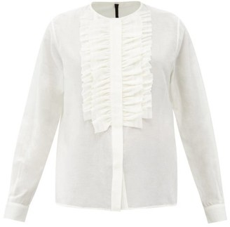 Sara Lanzi Ruffled-plastron Cotton-blend Voile Blouse - Ivory