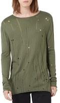 Topman Moth Distressed Long Sleeve Knit T-Shirt
