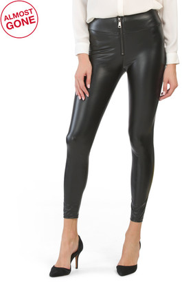 High Waist Front Zip Faux Leather Leggings