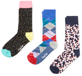 Happy Socks Spiral, Argyle and Abstract Socks (3 PK)