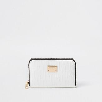 River Island White patent RI embossed zip around purse