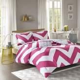 Bed Bath & Beyond Libra Reversible Chevron Full/Queen Comforter Set in Pink/White