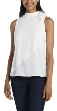 Vince Camuto Women's Tie Neck Blouse with Front Overlay