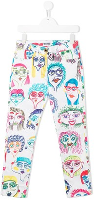 MOSCHINO BAMBINO All-Over Print Jeans