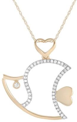 Non Branded 14K 0.15 Ct. Tw. Diamond Fish Pendant Necklace