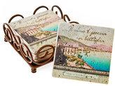 Thirstystone Coasters, Set of 4 Italian Inspirations Travertine in Holder
