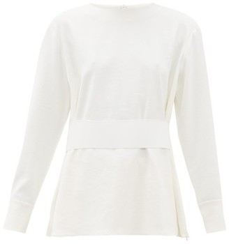 Tibi Belted Crepe Peplum Top - Womens - White