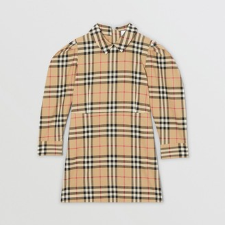 Burberry Puff-sleeve Vintage Check Cotton Dress