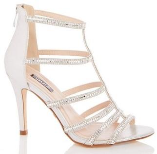 Dorothy Perkins Womens Quiz Silver Diamante Heel Sandals, Silver