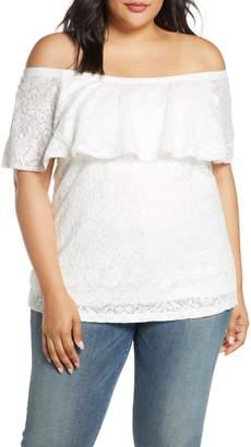 Estelle Convertible Off the Shoulder Cotton Blend Lace Blouse