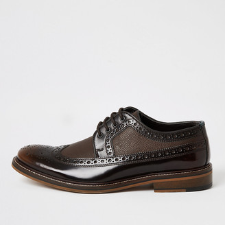 River Island Brown dark leather lace-up derby brogues