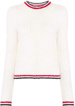 Thom Browne Crewneck Pullover With Red, White And Blue Tipping Stripe In Merino Wool Boucle Blend