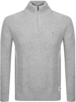 Tommy Jeans Half Zip Knit Jumper Grey