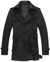 Tench Coats for Man, Fanala Classic Double Breasted Long Overcoat (L, )