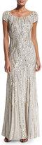 Jenny Packham Cap-Sleeve Embellished Gown, Lunar