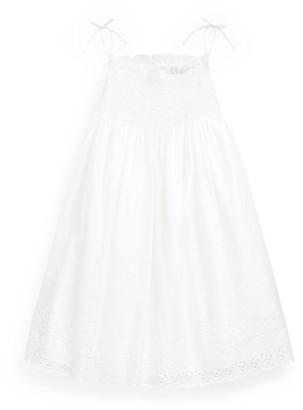 Ralph Lauren Smocked Cotton A-Line Dress