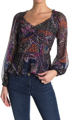 Parker Twilight Patterned Silk Blouse