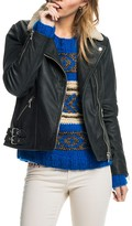 Scotch & Soda Sheepskin Collar Leather Moto Jacket