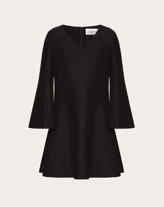 Valentino Crepe Couture Dress Women Black Virgin Wool 65%, Silk 35% 36