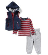 Little Me Baby Boys 12-24 Months Hooded Jacket Vest, Striped Tee, & Pants 3-Piece Set