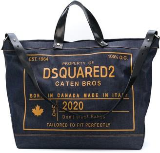 DSQUARED2 Logo-Print Denim Tote Bag