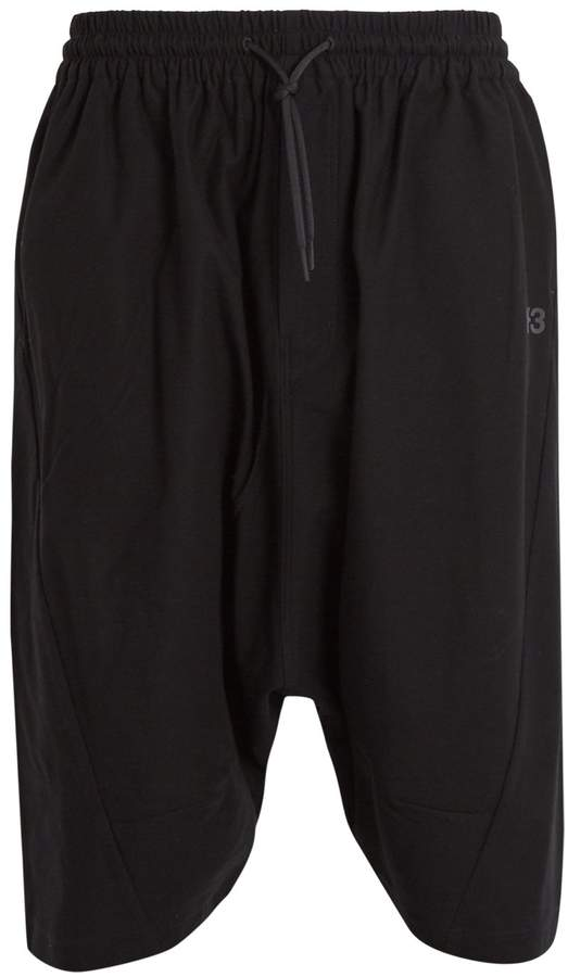 Y-3 Mid-rise cotton-twill shorts