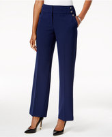 Kasper Embellished Straight-Leg Pants